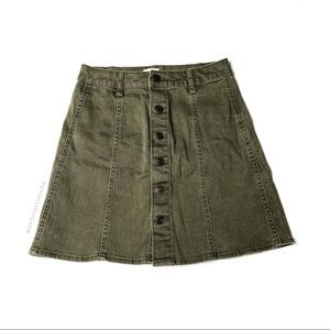 Mossimo Olive Green Button Down Denim Skirt 2
